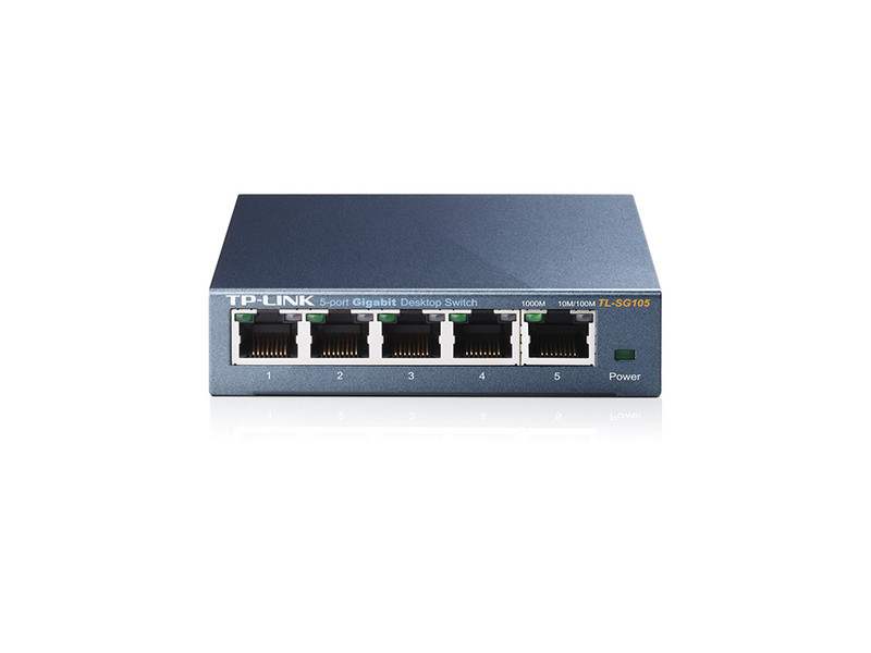 Сетевой коммутатор / TL-SG105 / 5-port Desktop Gigabit Switch, 8 10/100/1000M RJ45 ports, metal case